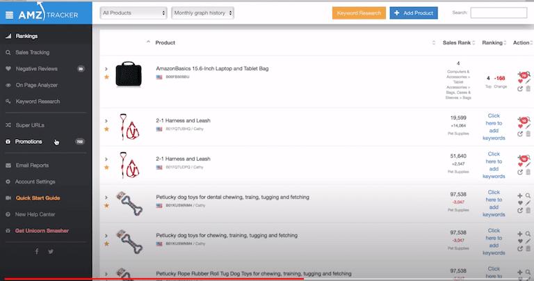 AMZ Tracker's user interface