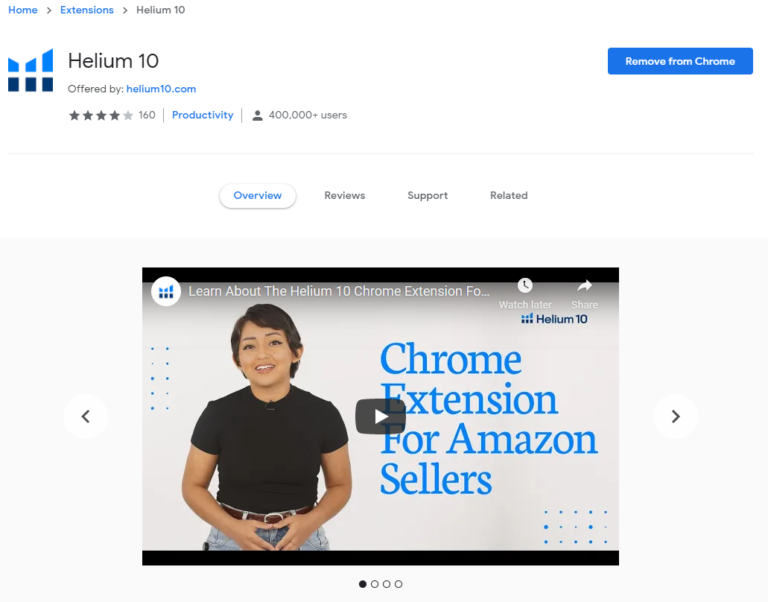 Helium 10 extension in the web chrome store