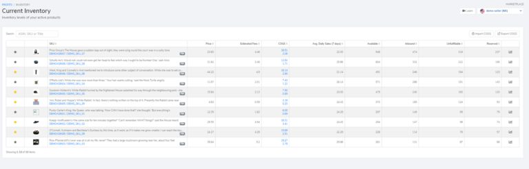Inventory management is handled inside the Profits dashboard