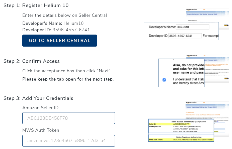 connect Helium 10 with your Seller Central